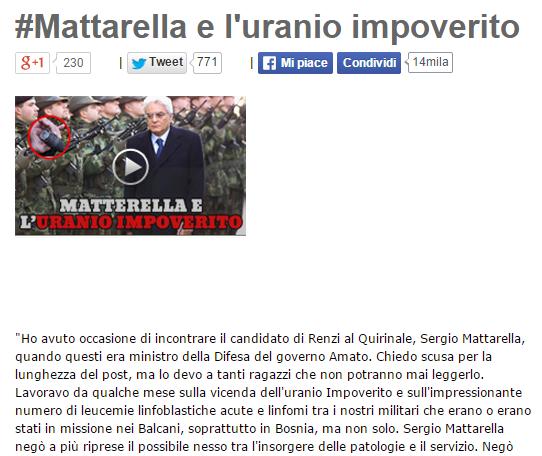 Grillo bufala Mattarella uranio impoverito