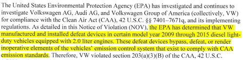 Estratto della lettera dell'EPA