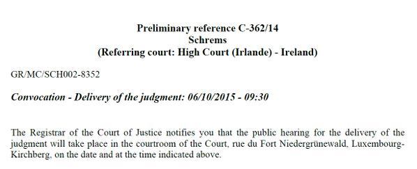Convocazione per l'udienza del 6 ottobre