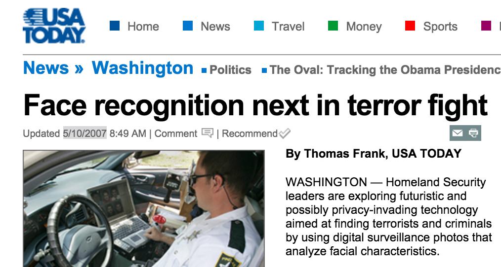 USA Today, nel 2007, si chiede se il futuro sia il riconoscimento facciale.