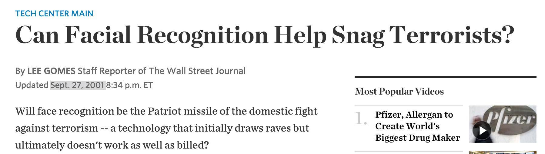 Il Wall Street Journal, due settimane dopo l'11 settembre.