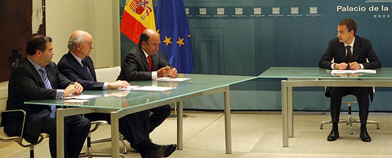 Il Presidente Zapatero riunito con i presidenti delle banche Popular, BBVA e Santander