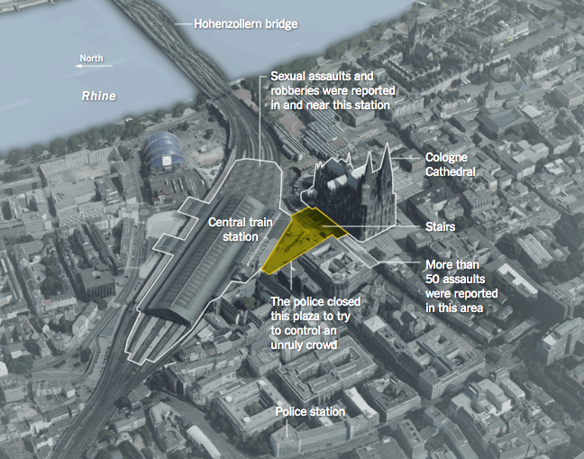 Le zone di Colonia dove sono avvenuti gli assalti. Immagine via The New York Times