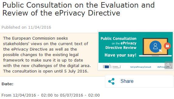 Consultazione sulla Direttiva e-Privacy