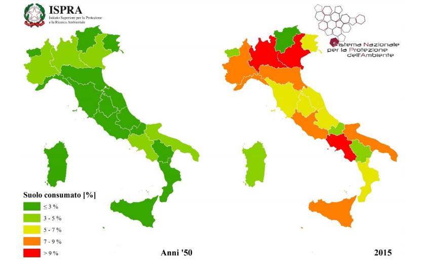 Stima del suolo consumato a livello regionale negli anni '50 e al 2015. Fonte: rete di monitoraggio ISPRA-ARPA-APPA.