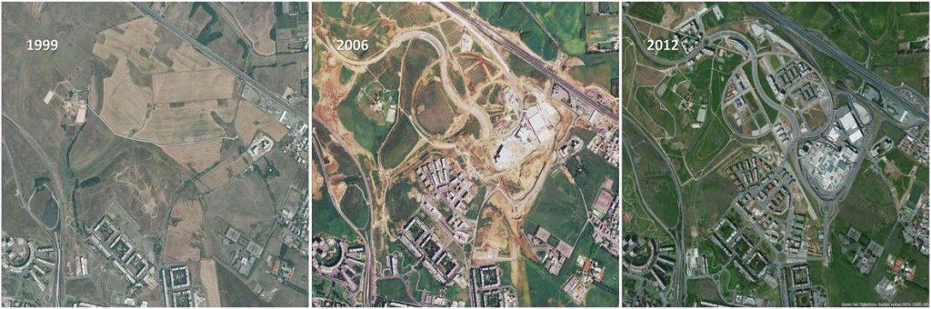 L'urbanizzazione di un'area agricola del Lazio in tre anni differenti: 1999, 2006 e 2012 – via L'Architetto.it