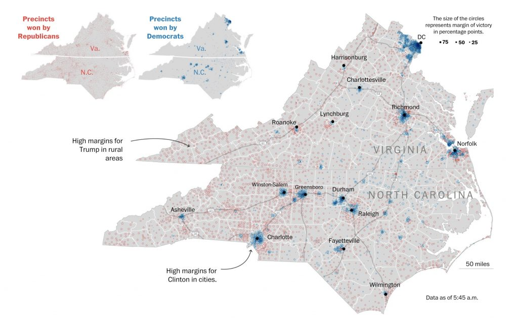 Voto in Virginia e North Carolina via Washington Post