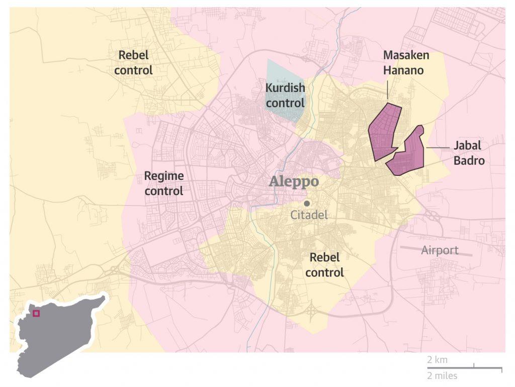 I quartieri di Masaken Hanano e Jabal Badro conquistati dalle forze di governo – via Guardian