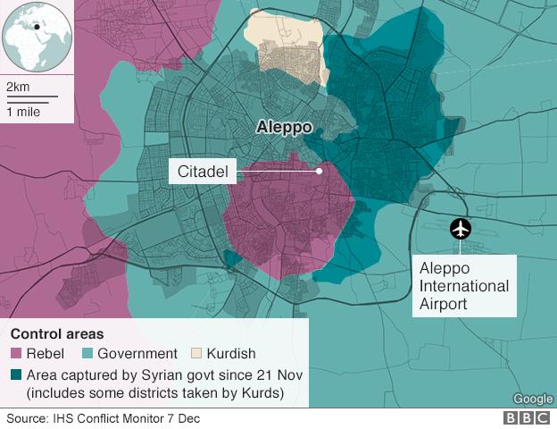 Le aree di Aleppo conquistate dalle forze filo-governative dal 21 novembre – via BBC