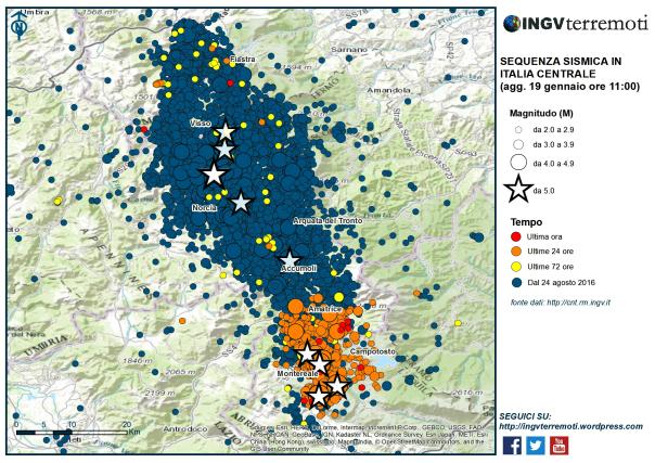 Localizzazione degli epicentri dei terremoti in Italia centrale dal 24 agosto a oggi, via INGV.