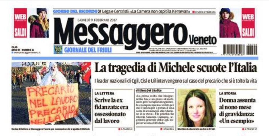 Una domanda al Messaggero Veneto sulla lettera della 'ex fidanzata' di Michele