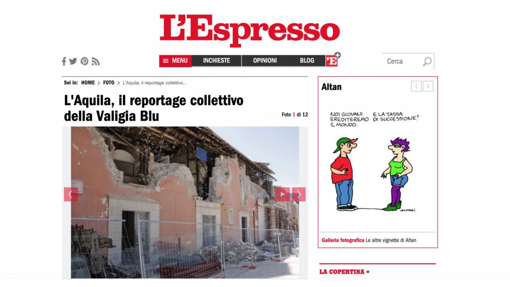 Valigia Blu, L'Espresso, terremoto, L'Aquila, reportage